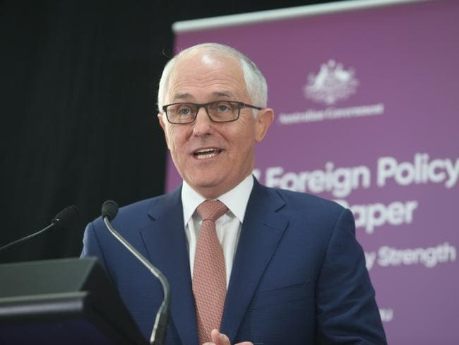 Prime Minister Malcolm Turnbull launches of the Foreign Policy White paper in Canberra. Picture Gary Ramage