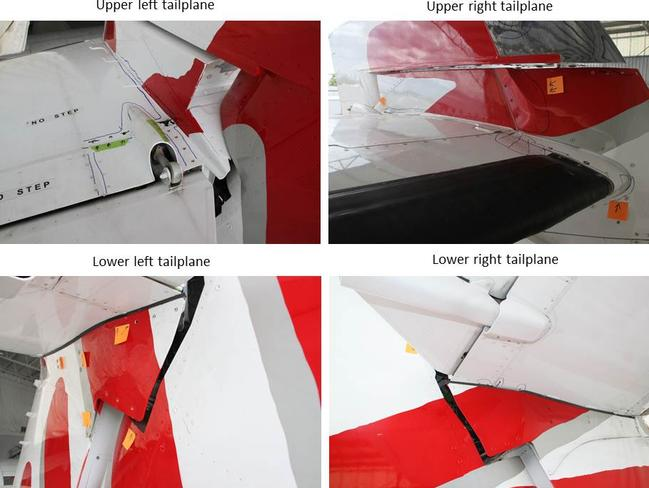Photo of the damaged tailplane. Picture: ATSB