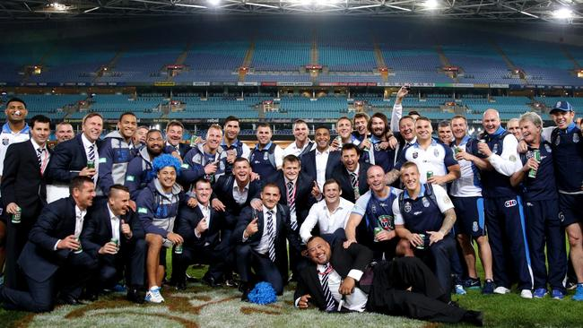 The Blues enjoy the run of an empty ANZ Stadium.