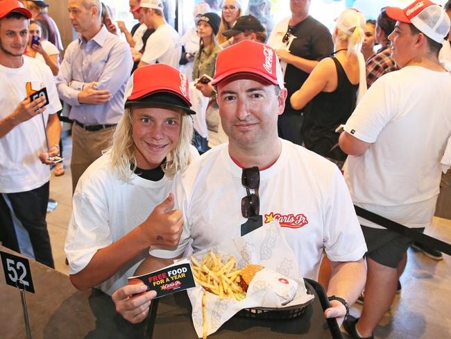 Central Coast local Matt Elsley was the first man through the door at Carl's Jr. Bateau Bay. Picture: Troy Snook