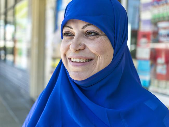 Joumana Akhdar, out shopping for Lebanese ingredients, thinks Pauline Hanson is funny. Picture: Sarah Keayes