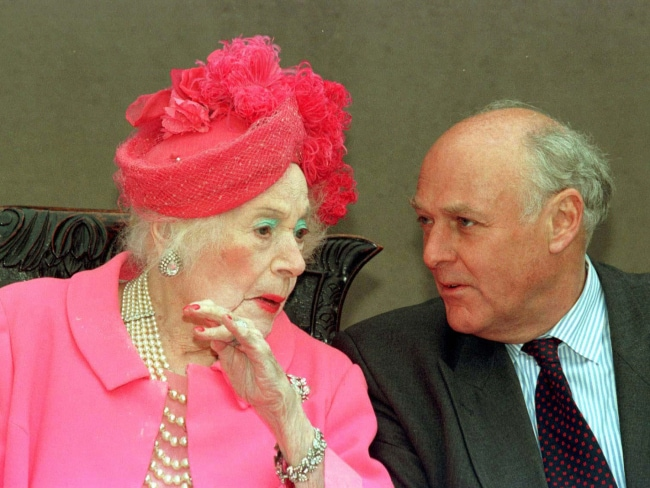 Dame Barbara Cartland with her Ian McCorquodale, Lady Sarah Spencer's father. Photo: AP PicFindlay/Kember