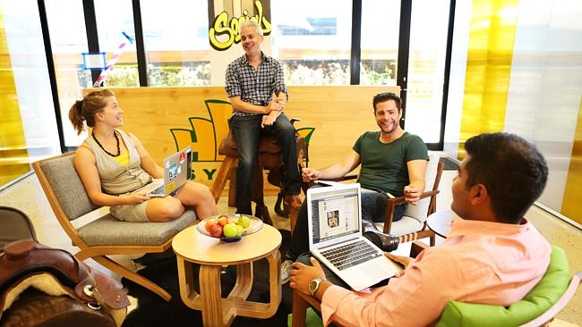 Marta Bonzanini, Liam Walsh, Zac Farrer and Adnan Khan inside the offices of Facebook Australia.