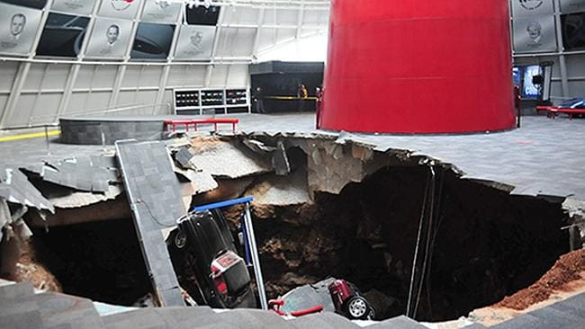 Sinkhole ... Several cars were sucked into a a sinkhole at the Corvette Museum in Kentucky.