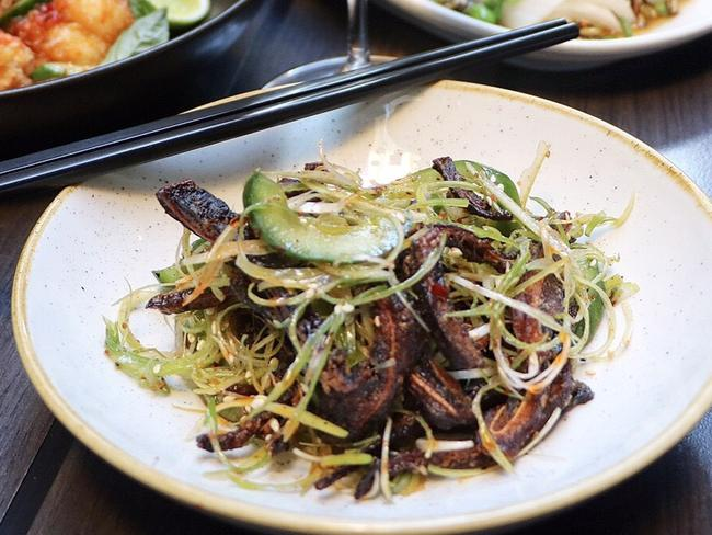 "<b>Deep fried pigs ears with pickled cucumber salad:</b>  <a href=""http://www.chinalane.com.au/files/"" target=""_blank"">China Lane, CBD</a>"