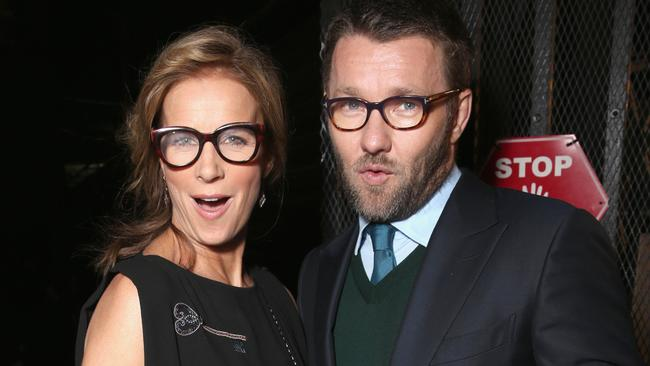 Awards host Rachel Griffiths with Joel Edgerton. Picture: Todd Williamson/Getty Images/AACTA.