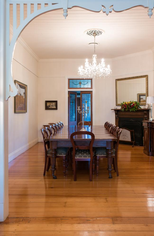 Formal dining: The dining room in the Queenslander, Supplied by Foxtel