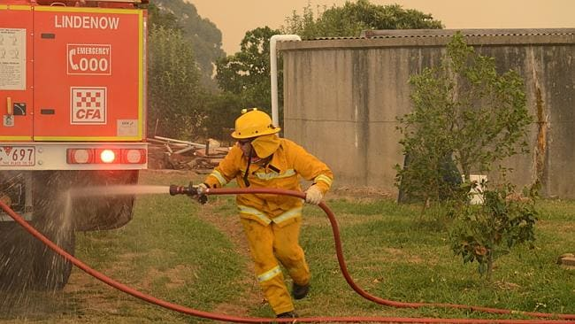 A firefighter battles the flames in Orbost. Picture: Greg Carter
