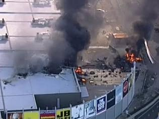 Air ambulance crash at Essendon DFO. Picture: 9 News