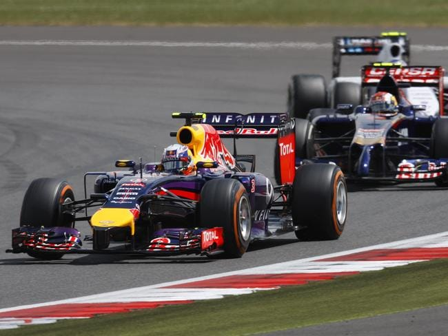 Ricciardo leads Daniil Kvyat of Russia earlier in the race. Picture: Getty