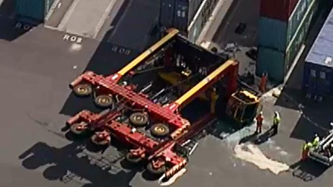 A worker was injured in the incident. Picture: Channel 9