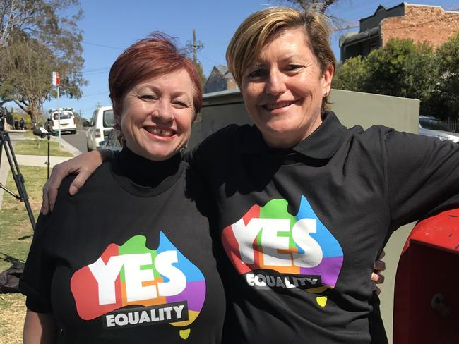 Christine Forster and partner Virginia Edwards. Picture: AAP
