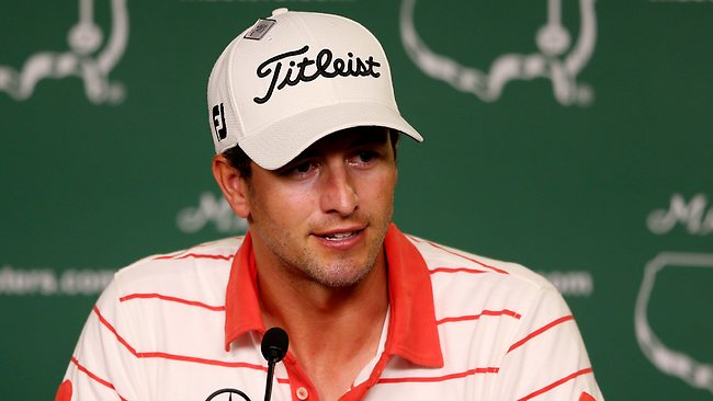 Adam Scott talks to the media during a press conference prior to the start of the 2013 Masters Tournament at Augusta National Golf Club. Picture: Mike Ehrmann
