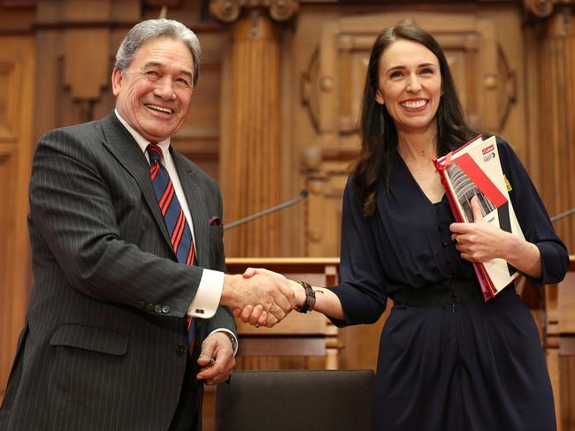 Jacinda Ardern with deputy Winston Peters. The outspoken New Zealand First leader will act as prime minister for six weeks while Ardern takes maternity leave. Picture: Hagen Hopkins/Getty Images