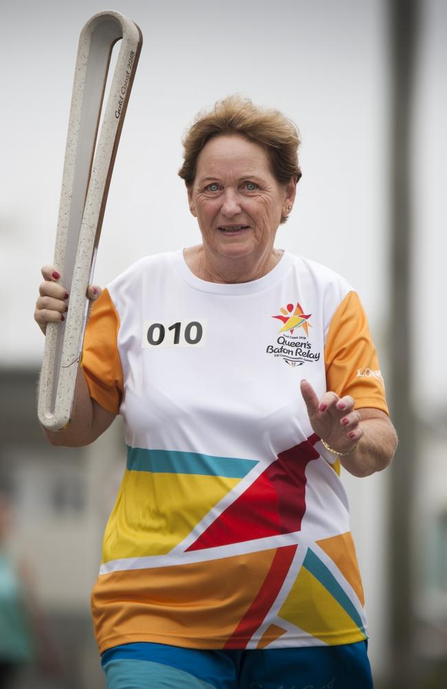 Denise Morcombe carrying the Baton as the Queen