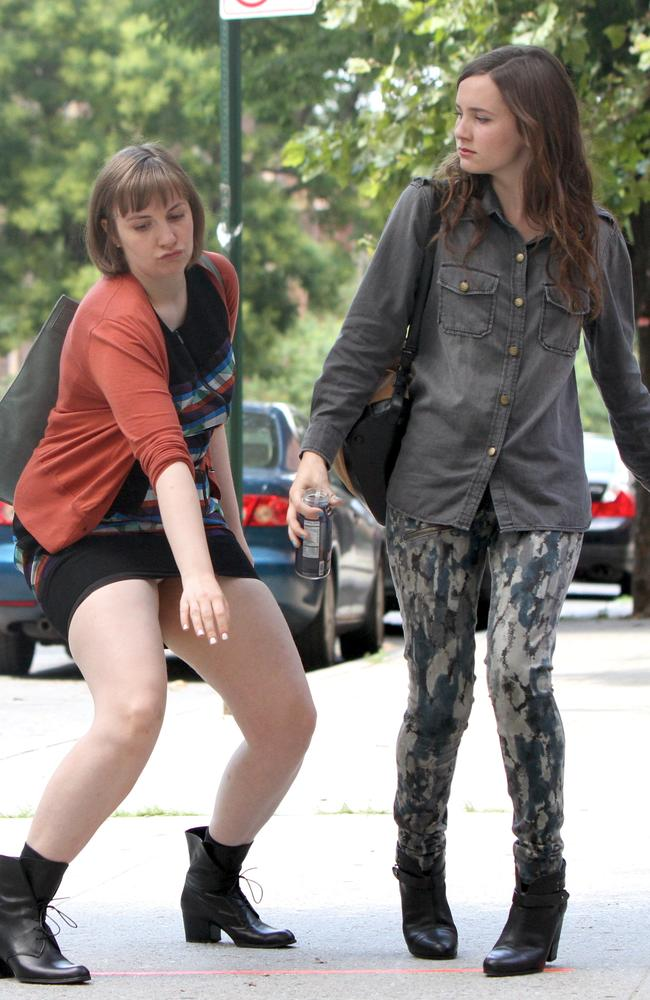 This is why we love her ... Lena Dunham busting a move with Maude Apatow.