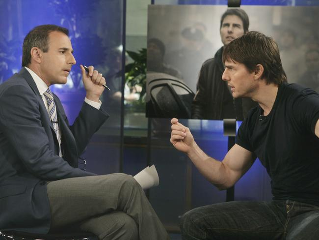 Combative ... Tom Cruise got aggressive when discussing antidepressants and Scientology with Matt Lauer. Picture: AP/NBC