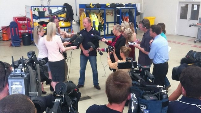 The Australian Maritime Safety Authority's Rescue Coordination Centre Australia updates the media about the operation over an area of up to 1500 square kilometres. Pictured is Action Rescue CEO David Donaldson. Picture: Glenn Barnes.