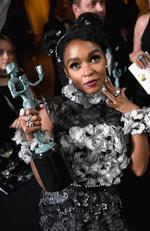 Janelle Monae, co-recipient of the Outstanding Performance by a Cast in a Motion Picture award for 'Hidden Figures,' poses in the press room duringThe 23rd Annual Screen Actors Guild Awards. Picture: Getty