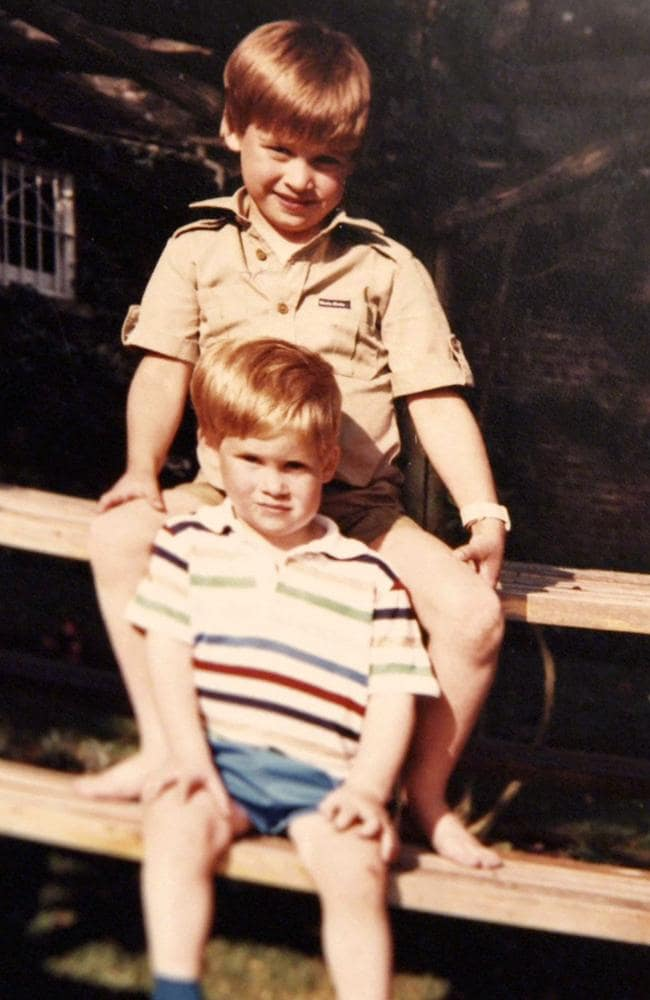 A photo of Prince William and Prince Harry, released from Diana's personal collection. Picture: AFP