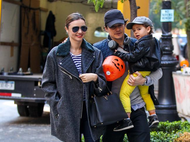 Miranda Kerr and actor Orlando Bloom with their son, Flynn. Picture: Supplied