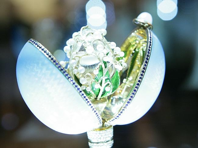A jewelled Faberge egg, simillar to the ones created for Tsar Alexander III of Russia in 1885.
