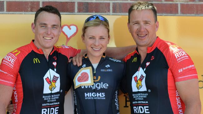 Australian cyclist Annette Edmondson, centre, with Ryan Milroy and Wayne Demery who joined her in the RMHC Ride for Sick Kids from Mount Gambier to Adelaide. Picture: Sarah Oliphant.