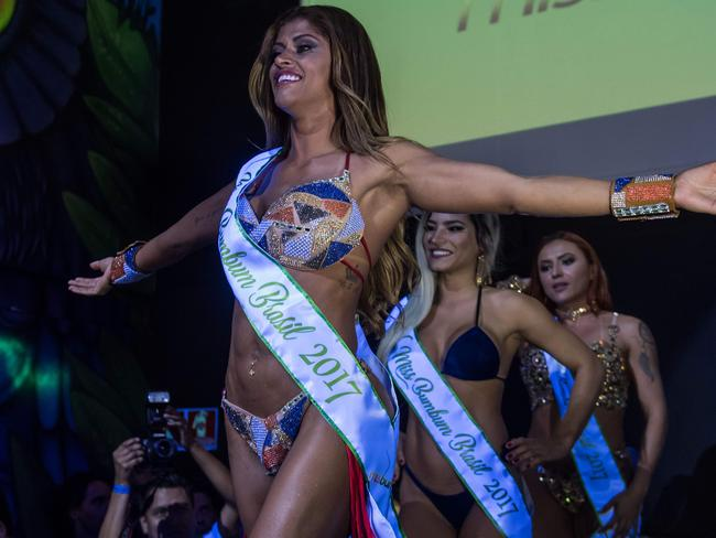 Rosie Oliveira reacts after winning the Miss Bumbum Brazil 2017 pageant. Picture: AFP
