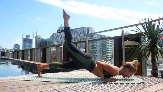 Picture: Supplied. Stef will be leading yoga at Sydney's The Old Clare Hotel rooftop on Saturdays at 9am.