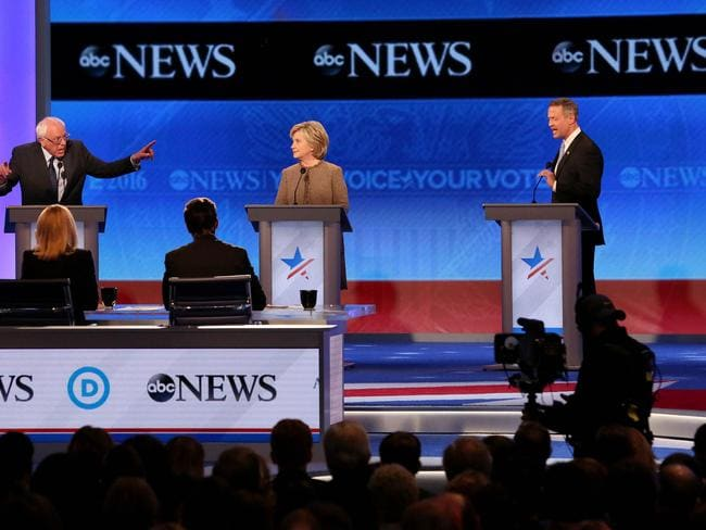Democratic president candidates ... Bernie Sanders, Hillary Clinton, and Martin O'Malley, debate at Saint Anselm College in Manchester, New Hampshire. Picture: Getty