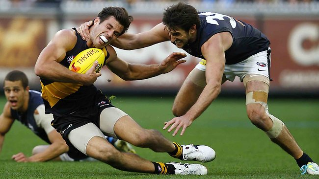 First Elimination Final. Richmond v Carlton at the MCG. Alex Rance gets tackled high by Jarrad Waite during the 3rd quarter. Pic: MICHAEL KLEIN. MELBOURNE, AUSTRALIA. Sunday September 8, 2013. Picture: Klein Michael
