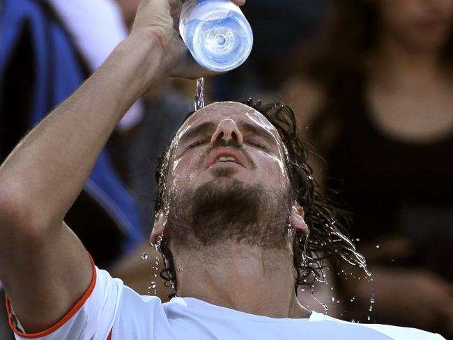 Lopez needed all the water he could get after his five set epic.