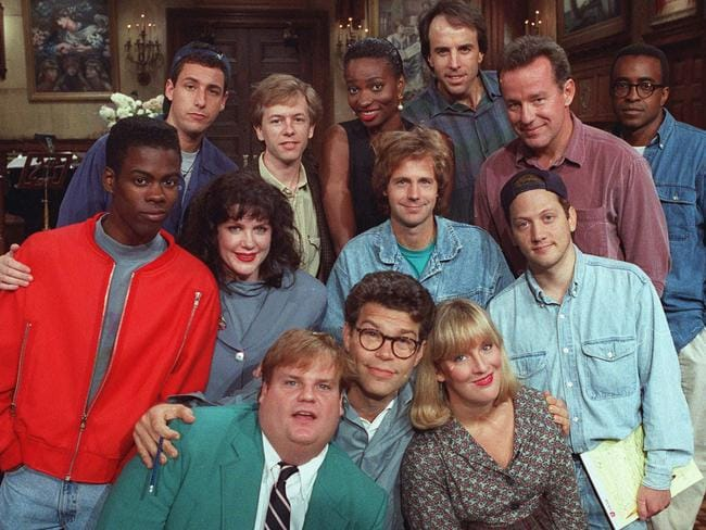 Al Franken (front row, middle) with the cast of  <i>Saturday Night Live</i> in 1992. Picture: Supplied