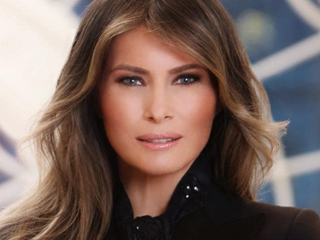 In this photo provided by the White House, first lady Melania Trump in her first official portrait as the first lady as photographed in her new residence at the White House in Washington. Picture: AP