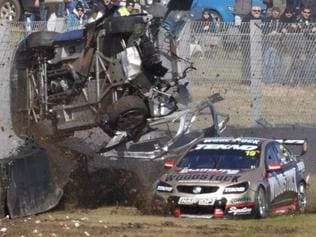Todd Hazelwood of Cool Drive Racing crashes out during the Wilson Security Sandown 500, at the Sandown International Motor Race, Melbourne, Victoria, September 16, 2017.