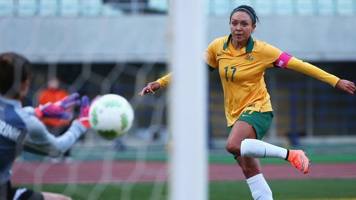 OSAKA, JAPAN - MARCH 02: Kyah Simon of Australia scores her team's fourth goal past Dang Thi Kieu Trinh of Vietnam during the AFC Women's Olympic Final Qualification Round match between Australia and Vietnam at Yanmar Stadium Nagai on March 2, 2016 in Osaka, Japan. (Photo by Koji Watanabe/Getty Images)