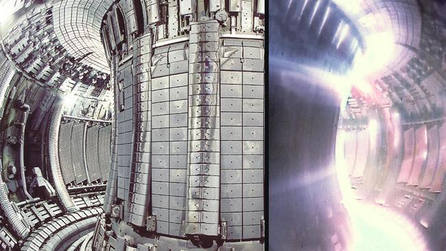 The Tokamak reactor in dormant mode, left, and glowing as a magnetic field restrains its plasma. Picture: Supplied