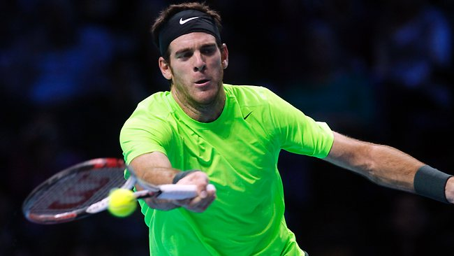 Juan Martin Del Potro hits a return to Roger Federer at the ATP World Tour finals at the O2 Arena in London. Picture: Sang Tan