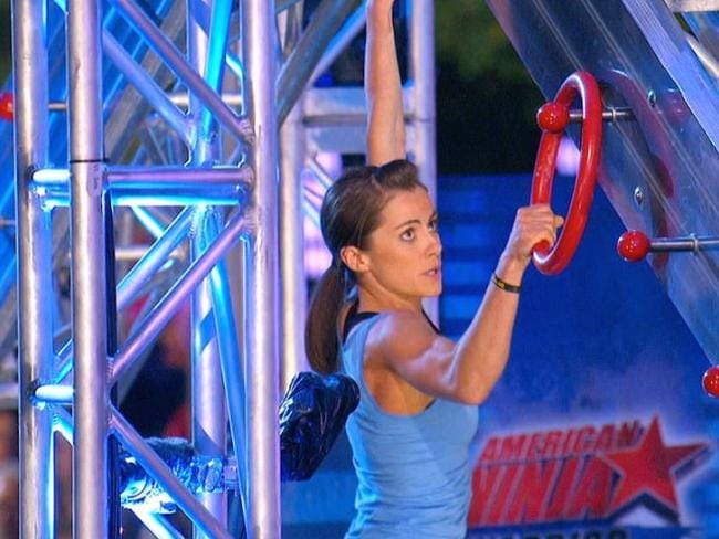 Mighty Kacy makes her way though the American Ninja Warrior course.