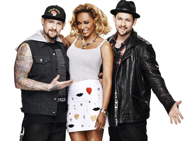 The Voice kids ... Coaches Benji Madden, Mel B and Joel Madden. Picture: Channel 9