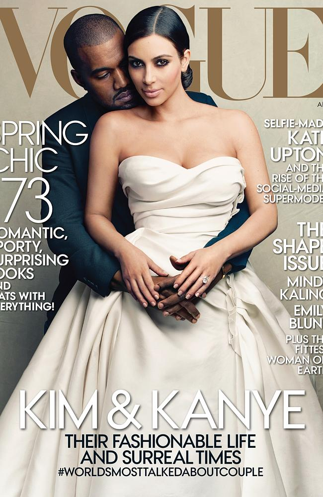 Annie Leibovitz's cover image of Kanye West and Kim Kardashian for Vogue's April 2014 issue. Picture: AP