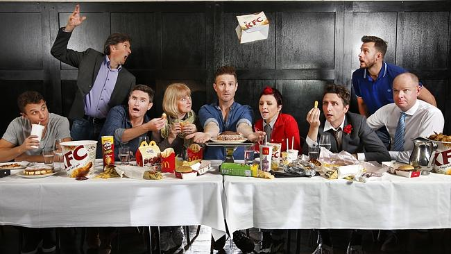 TOP COMICS (From left): Tommy Little, Colin Lane, Dave Hughes, Denise Scott, Wil Anderson, Cal Wilson, Frank Woodley, Dave Thornton and Tom Gleeson at The Melbourne Supper Club. Picture: David Caird