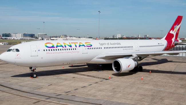 A Qantas plane with a rainbow logo. The airline is a corporate supporter of marriage equality.