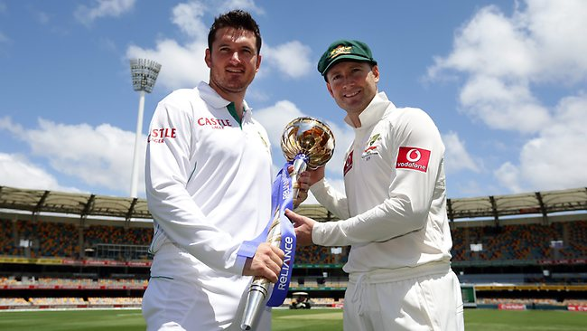 Opposing captains Graeme Smith and Michael Clarke with the ICC Test Championship mace. Picture: Adam Head