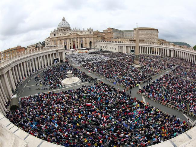 Hundreds of thousands gather ... A general view of the atmosphere in St. Peter's Square a