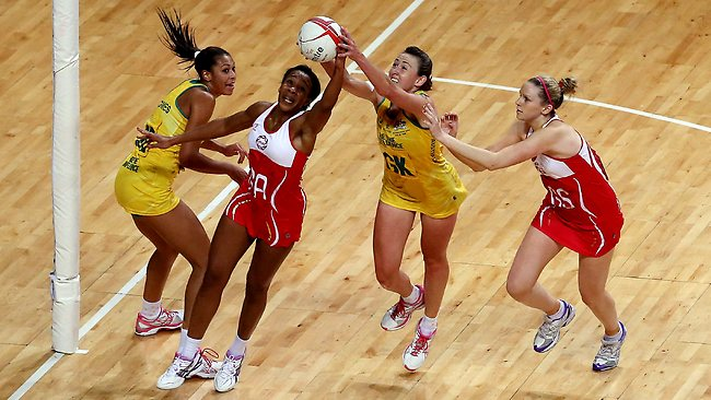 Pamela Cookey of England beats Rebecca Bulley of Australia to the ball during the second netball Test at Wembley Arena. Picture:Scott Heavey