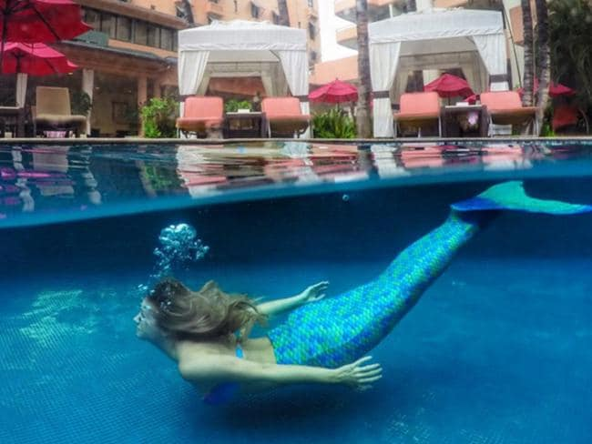 Kiersten becomes the Little Mermaid for the day on one of her hotel stays. Picture: theblondeabroad