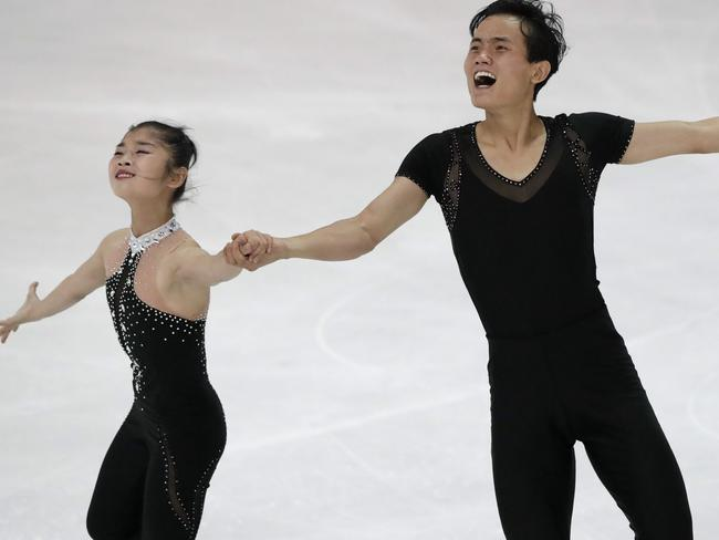 Ryom Tae-ok and Kim Ju-sik of North Korea competing at the Figure Skating-ISU Challenger Series in Oberstdorf, Germany where they qualified for the Winter Olympics. Picture: AP Photo/Matthias Schrader, File