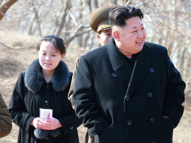 Women are considered 'subservient to men' in North Korea, which is led by Kim Jong-un, pictured with his younger sister Kim Yo-jong. Picture: AFP/Korean Central News Agency via Korea News Service