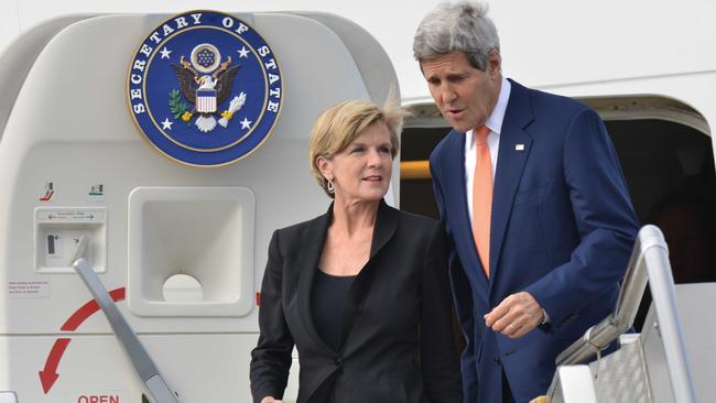 Touch down ... US Secretary of State John Kerry and Australian Foreign Minister Julie Bishop arrive at Sydney International Airport today. Picture: Peter Parks/Getty Images